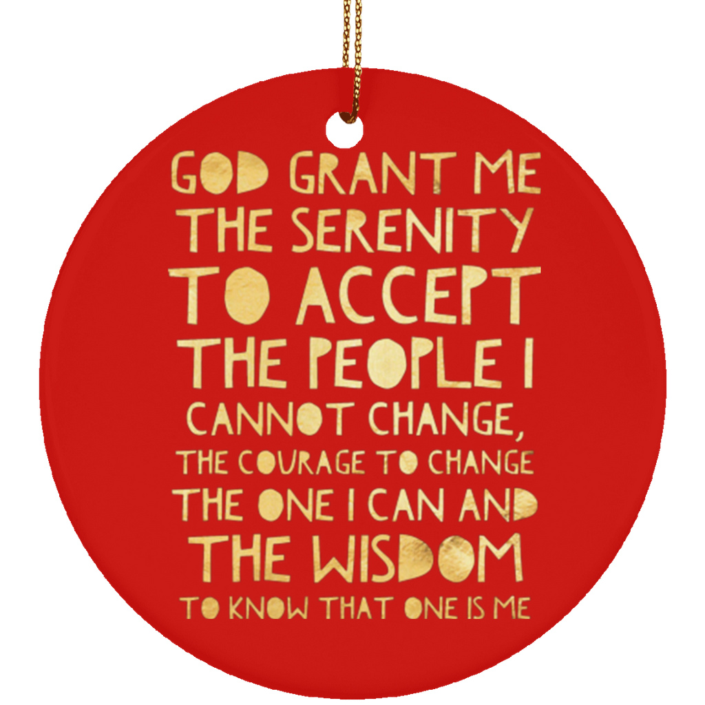 ACA Serenity Prayer Christmas Tree Ornament Ceramic Circle