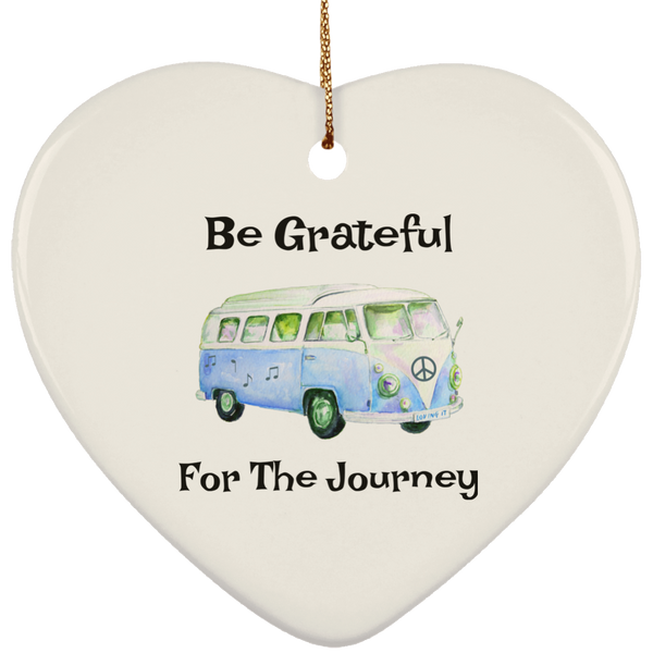 Be Grateful For The Journey Hippie Bus Christmas Tree Ornament Heart