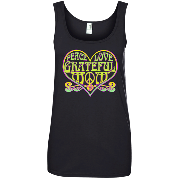 Peace Love Grateful Mom Ladies 100% Ringspun Cotton Tank Top