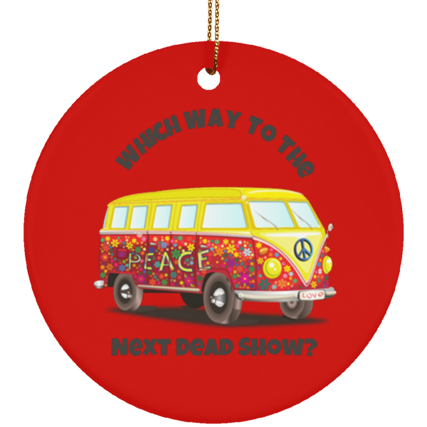 VW Bus Dead Show Christmas Tree Ornament Ceramic Circle