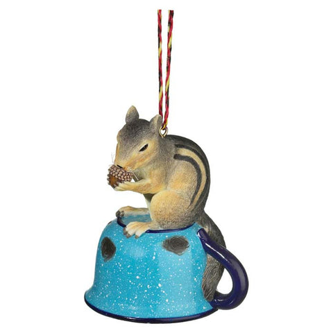 CHIPMUNK AND CUP ORNAMENT