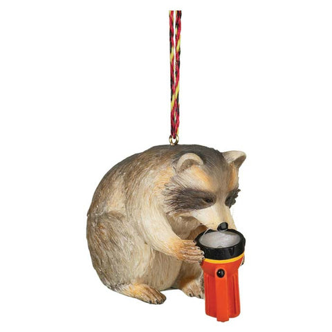 RACCOON W/FLASHLIGHT ORNAMENT
