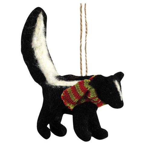 FELTED SKUNK ORNAMENT