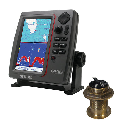 SI-TEX SVS-760CF Dual Frequency Chartplotter/Sounder w/ Navionics+ Flexible Coverage & Bronze 20 Degree Transducer [SVS-760CFB60-20]