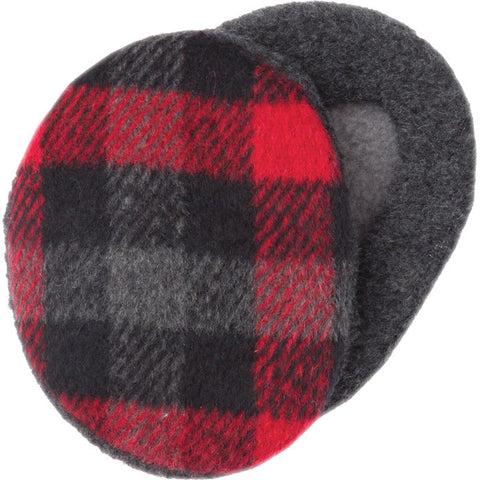 EARBAGS FLEECE PLAID BLK/RD SM