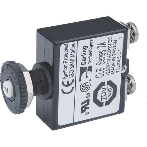 Blue Sea Push Button Reset Only Screw Terminal Circuit Breaker - 7 Amps [2131]