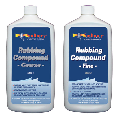 Sudbury Rubbing Compound Kit - Step 1 Coarse  Step 2 Fine - 32oz Each [444-442KIT]