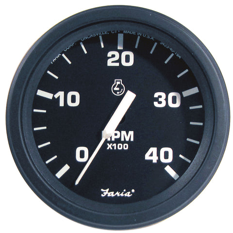 "Faria 4"" HD Tachometer (4000 RPM) Diesel (Mech Takeoff  Var Ratio Alt) - Black [43003]"