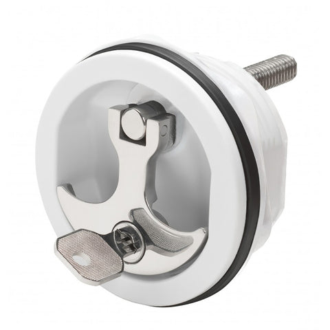 Whitecap Compression Handle CP Zinc/White Nylon Locking - 1/4 Turn [S-9415WC]