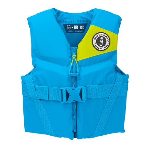 Mustang Rev Youth Foam Vest - 55-88lbs - Azure Blue [MV3570-268]
