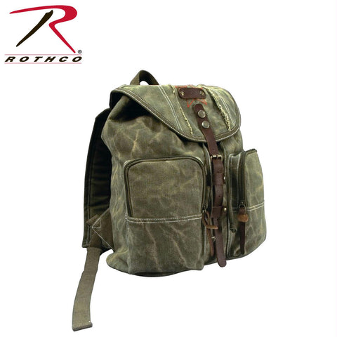Rothco Stone Washed Canvas Backpack w- Leather Accents