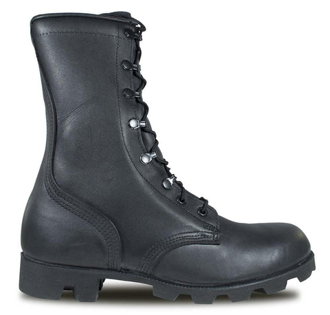 McRae Black All-Leather Combat Boot with Panama SoleStyle 6189