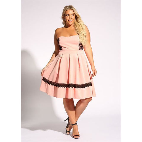 DEBSHOPS Strapless Pleated Flared Dress