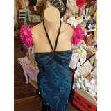 Vintage Blue Beaded Halter Dress
