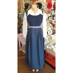 Vintage Long Sleeved Blue and White Polka Dots