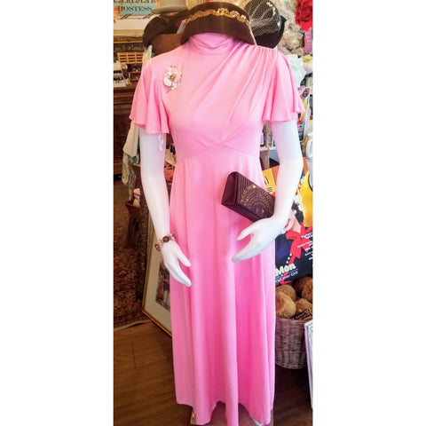 Vintage Perky Pink Cowl Neck Dress
