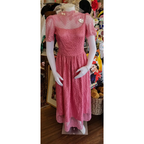 Vintage Pretty in Pink Open Back Dress