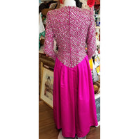 Vintage Fuschia Beaded Satin Gown