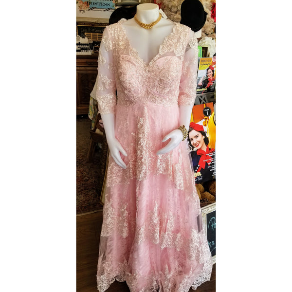 Vintage Pink Princess Lace Gown