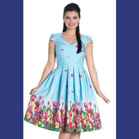 Hell Bunny Angelique Blue 50's Dress with Tulips