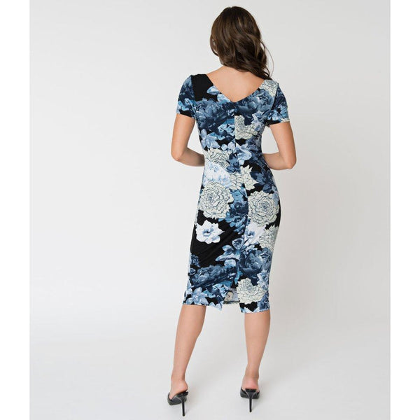 Unique Vintage Black & Blue Floral Short Sleeve Harris Knit Wiggle Dress