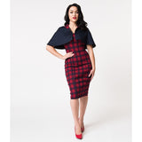 Unique Vintage Red & Navy Plaid Cotton Strauss Wiggle Dress & Cape