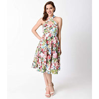 Unique Vintage 1950s Style Watercolor Roses Criss Cross Halter Flare Rita Dress