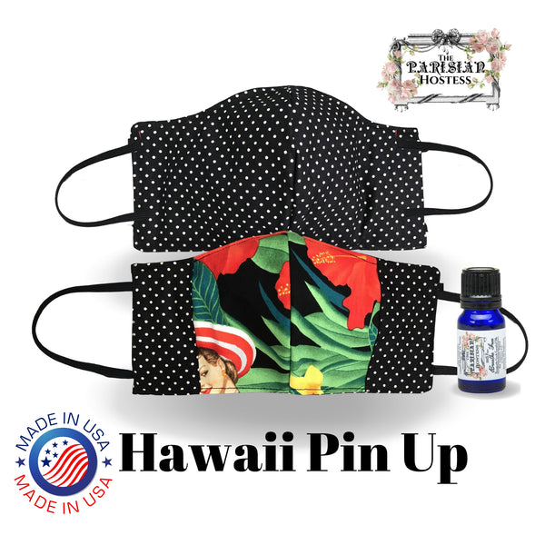 The Parisian Hostess Reversible Face Mask with 10 ml Essential Oil Kit and filter- Hawaii Pin UP