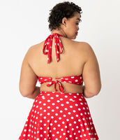 Unique Vintage Red & White Dot High Waist Miranda Swim Skirt