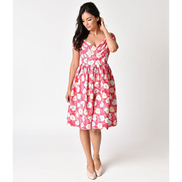 Unique Vintage Pink Conversational Hearts Cupid Swing Dress