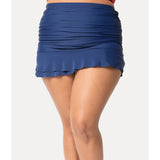 Unique Vintage Plus Size Navy Blue Skirted High Waist Alice Swim Bottoms