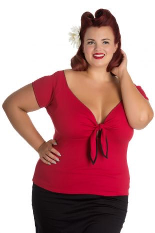Hell Bunny Bardot Top- Red delicious Plus Size