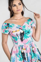 Hell Bunny Toucan Dress off the shoulder