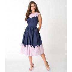 Unique Vintage Navy Blue & Pink Stripe Scalloped Sonoma Swing Dress Women's Casual Dress