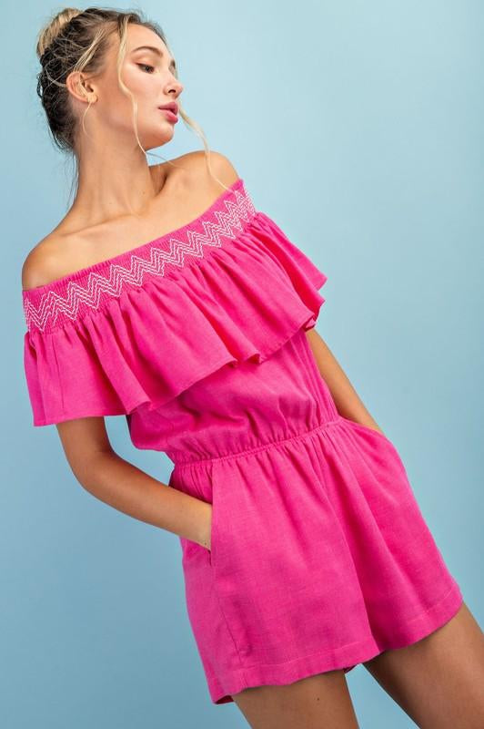 Margaritas in the Sunshine Romper Hot Pink
