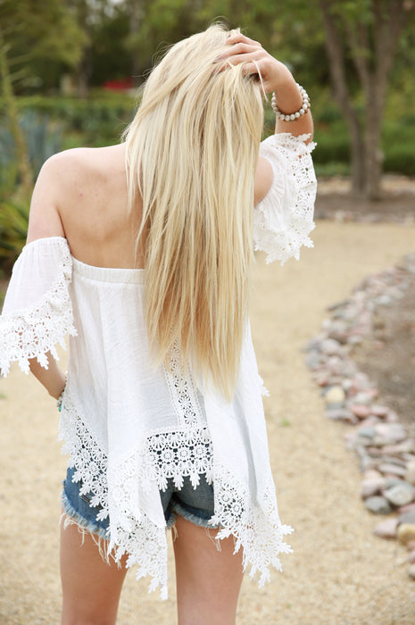 Paradise Awaits Off The Shoulder Top White
