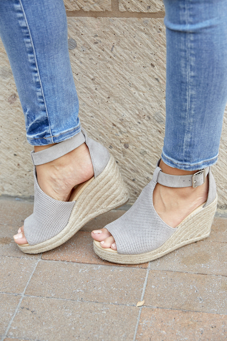I Love LA Wedge Grey