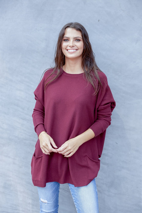 Falling In Love Two Pocket Sweater In Mulberry