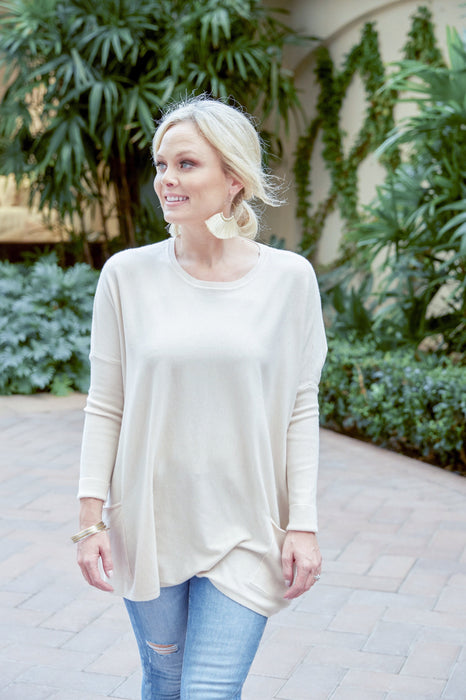 Falling In Love Two Pocket Sweater In Oatmeal