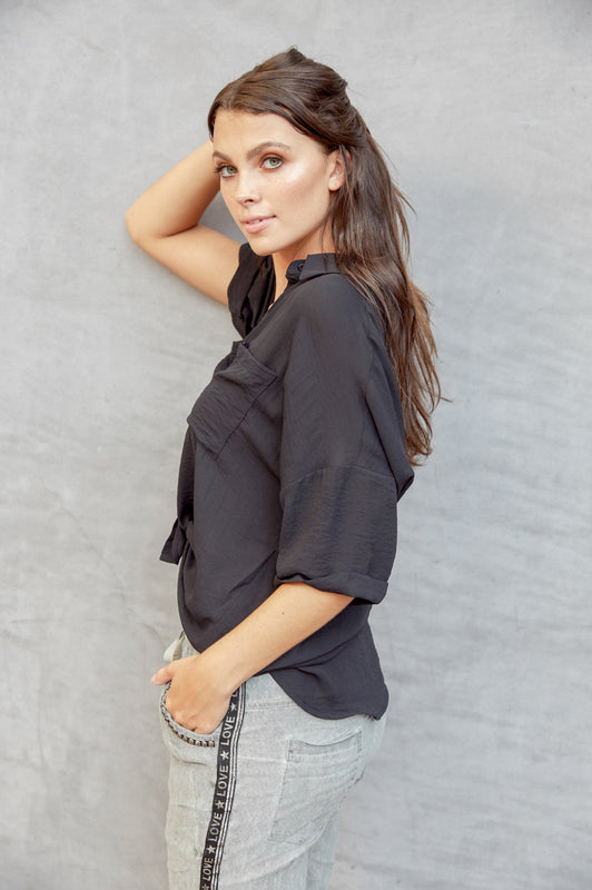 Out of Office Shift Blouse Black