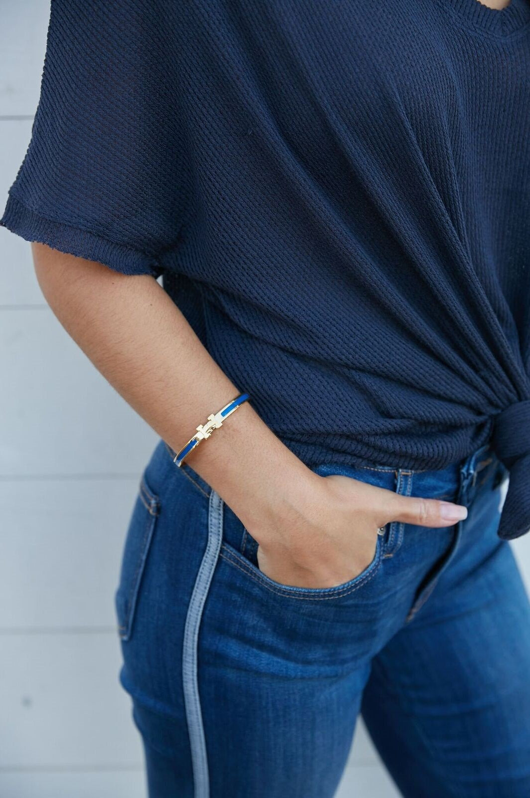 H Enamel Bracelet Royal Blue (gold or silver)