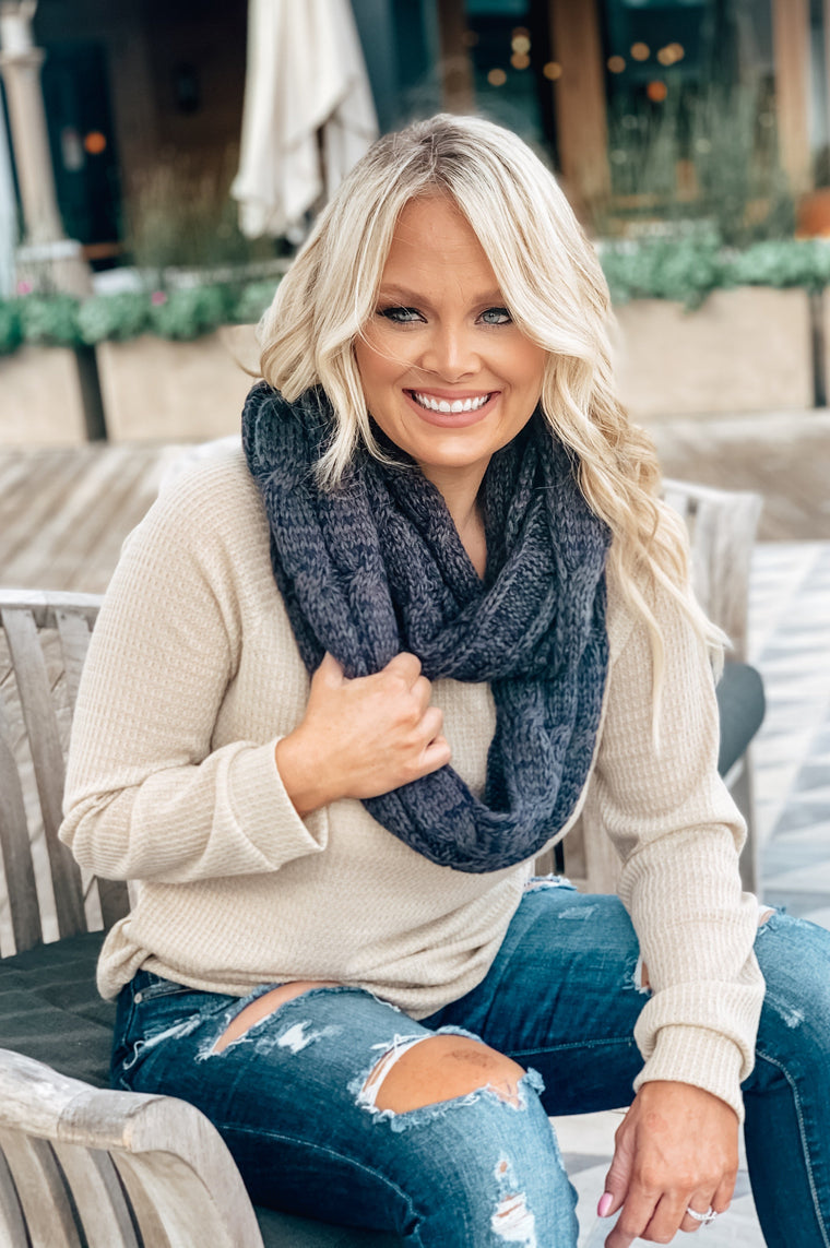 Steel Blue Charcoal C.C. Infinity Scarf