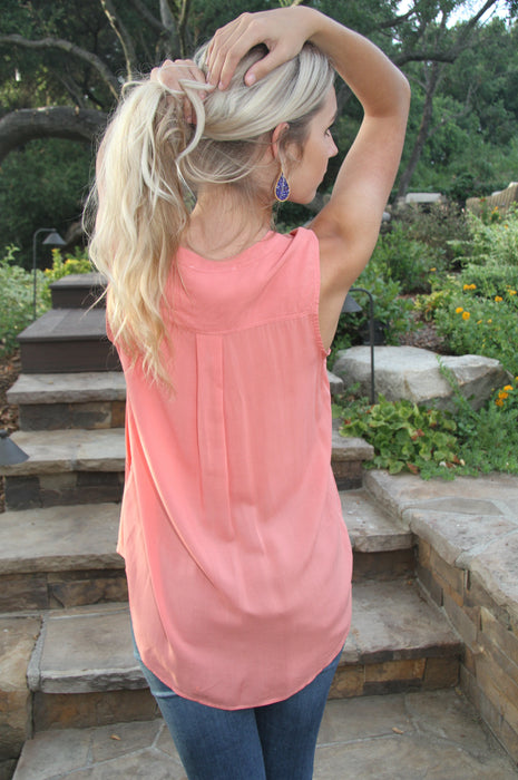 Coral Rose Sheer Sleeveless Top