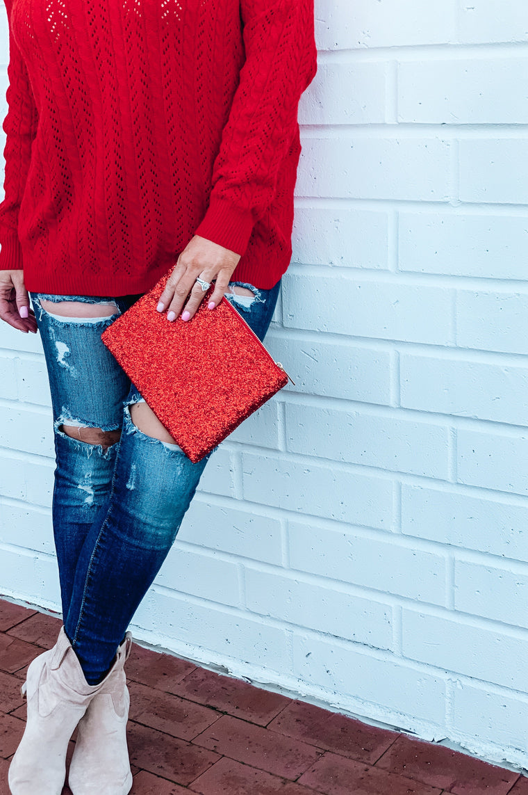 Love to Sparkle Glitter Clutch Red