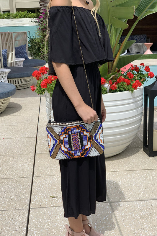 Party Time Beaded Clutch Black