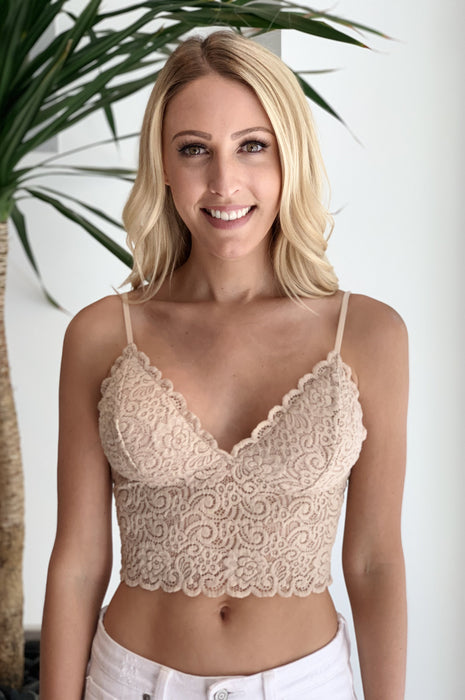Love Me Do Lace Bra Beige