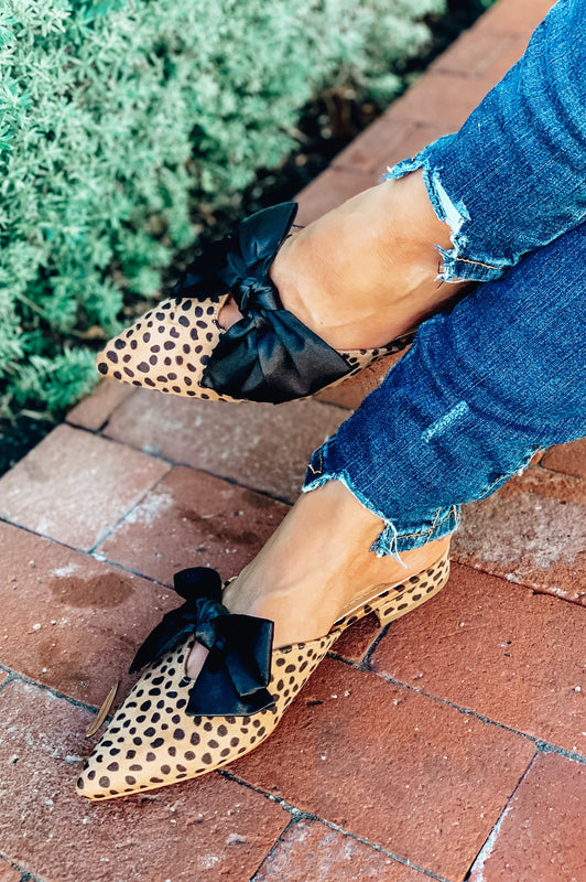 Leopard Satin Bow Mules