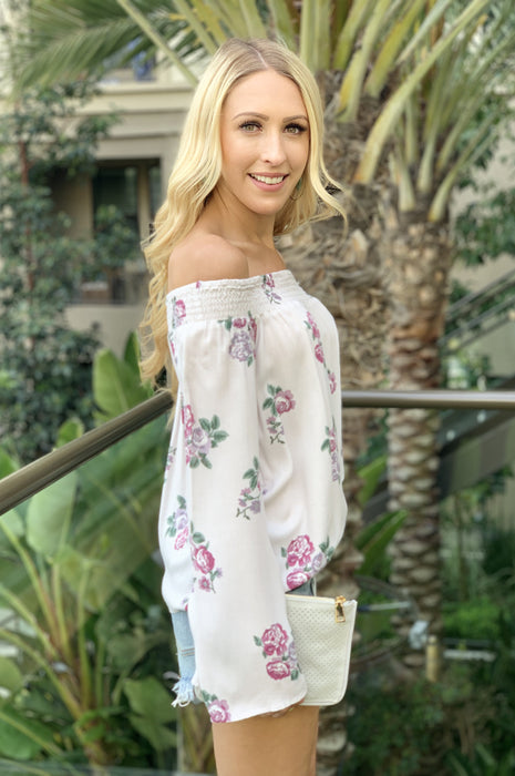 Fun In Floral Off the Shoulder Blouse Cream