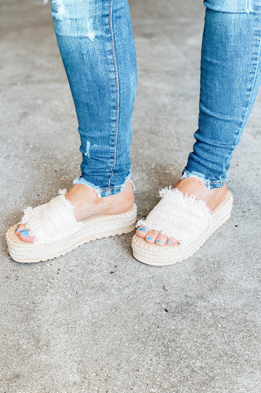 Blissful in Paradise Straw Wedges
