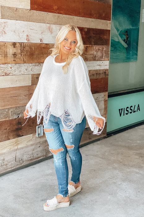 Not Stressing Distressed Sweater White